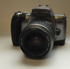 Canon Rebel T2 film camera and lens