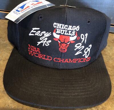 Vtg NOS NWT Chicago Bulls Easy As 91 92 93 NBA Champions Snapback Baseball Hat
