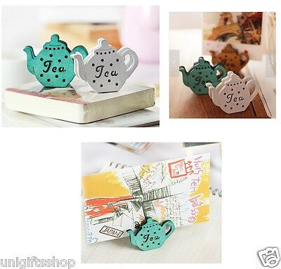 6 Sets Of Tea Pot Shaped Memo Clips For Displaying Photos Or Number Cards