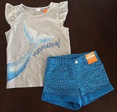 NWT Gymboree Girl Mermaid Cove Mermazing Tee & Blue Shorts Outfit 6 7 8 10