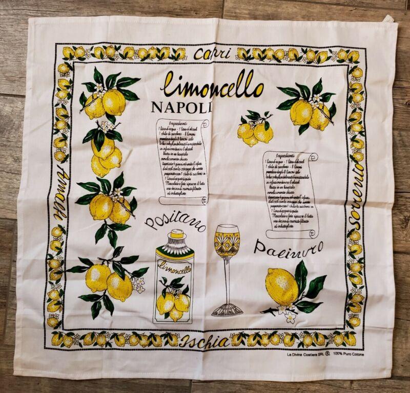 Italian Italy Tea Towel Lemons Limoncello Recipe Capri Positano