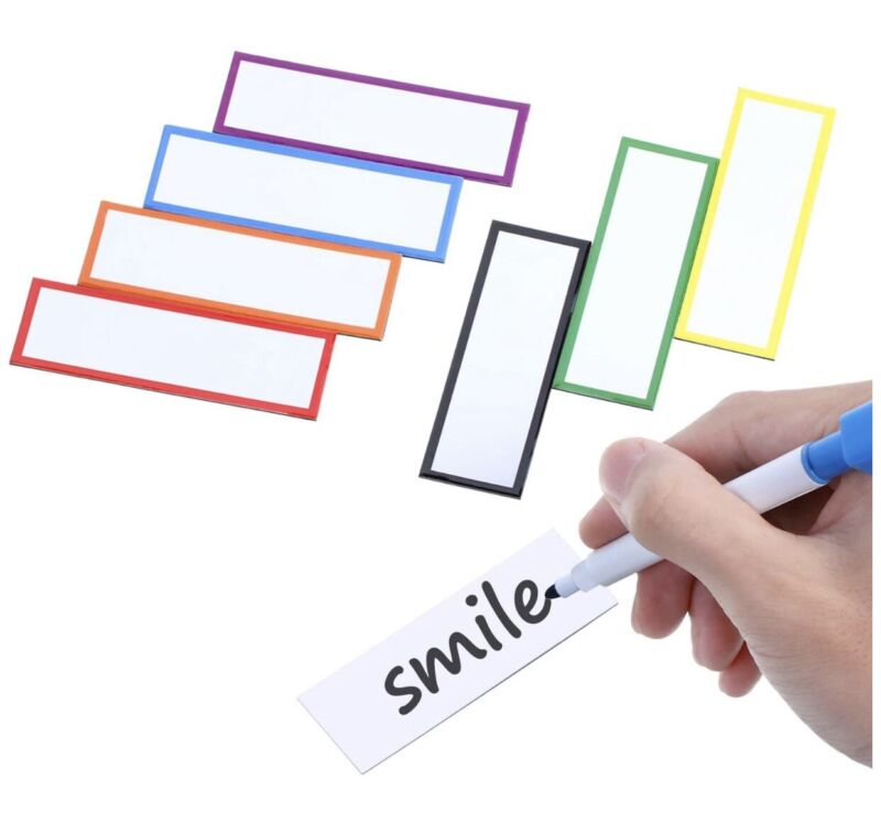 Magnetic dry erase labels writable and reusable - 1x3inch - Green border - NEW**