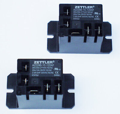 2 - Zettler Mini Power Relay Spdt 120v 30a Az2280-1c-120af