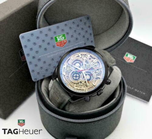 New Watch Box TAG HEUER Genuine Gray Black Leather Luxury Paperwork Duster Retro