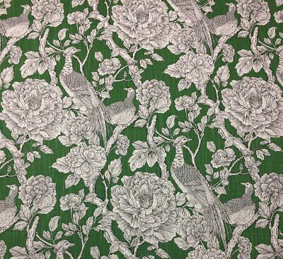 "BALLARD DESIGN RICHMOND GREEN IVORY BIRD TOILE MULTIUSE FABRIC BY THE YARD 54"" W"