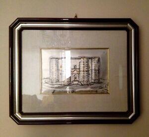Quadro-legno-mogano-argento-vetro-antico-incisione-Castello-Federico