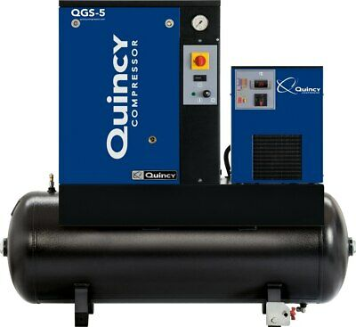 2021 Quincy Qgs-5 Rotary Screw Air Compressor 5 Hp With Dryer And 60 Gallon Tank