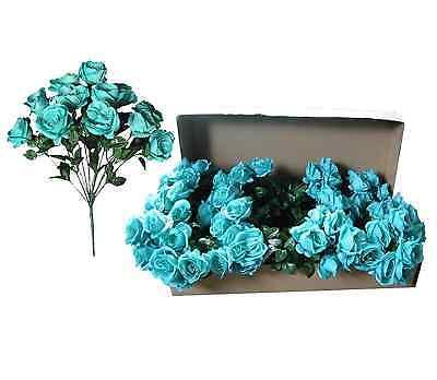 Lot of 144 Aqua Poly Silk Open Roses 20