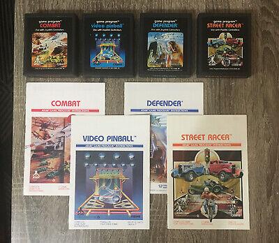 Atari 2600 Combat Video Pinball Defender Street Racer 4 Game Lot with Manual