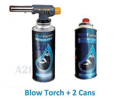 Blow Torch + 2x Butane Gas Can Flamethrower Burner Welding Auto Ignition Kitchen