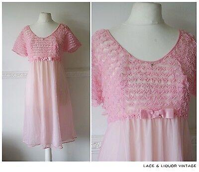 LOVELY VINTAGE 1960s ST MICHAEL PINK NYLON RUFFLE NIGHTIE NIGHT DRESS 14