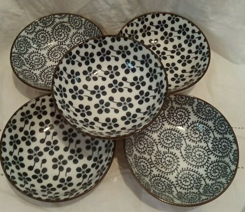 5 CHINESE JAPANESE RICE SOUP BOWLS~MODERN BLUE WHITE PRINT~EXCELLENT TO NEW