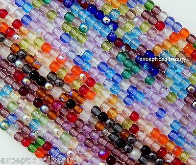 100 Preciosa Czech Glass Druk Assorted Mix 4mm Smooth Round Beads U Pick Colors