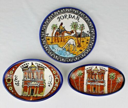 Petra Jordan Ceramic Pottery Bowls &  Plaque - Camels, Oasis, Palm Trees, Tent