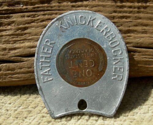 "ca 1956 NEW YORK CITY NY ""FATHER KNICKERBOCKER"" SOUVENIR ENCASED PENNY CENT 1c"