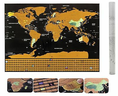 Premium Scratch Off World Map Poster US States & Country Flags | FAST SHIPPING!