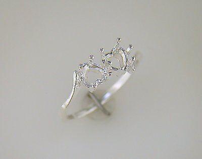 Heart Shape Ring Setting (4.5 mm Heart Shape Friendship Ring Setting Sterling Silver )
