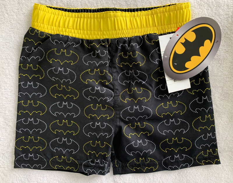 Toddler Boys Batman Swim Trunks ~ Black