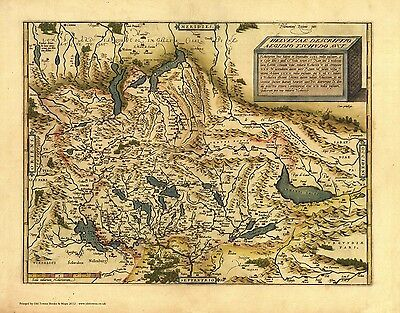 Switzerland in 1570 - reproduction of an old map by Abraham Ortelius