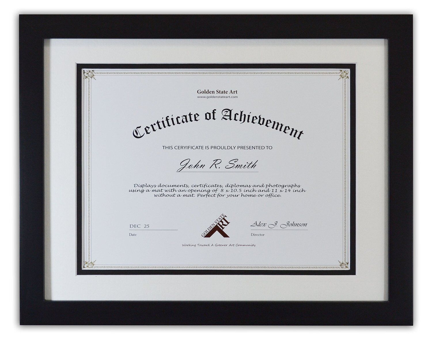 11x14 Black Color  Document / Photo Wood Frame, with Double