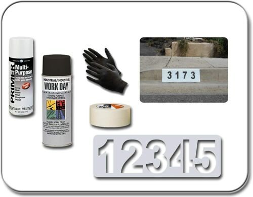 Curb-N-Sign Complete Curb Address Number Painting Kit with Custom Stencil