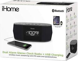 iHome Wireless Bluetooth Stereo Dual FM Alarm Clock Radio USB Charging Alarm ...