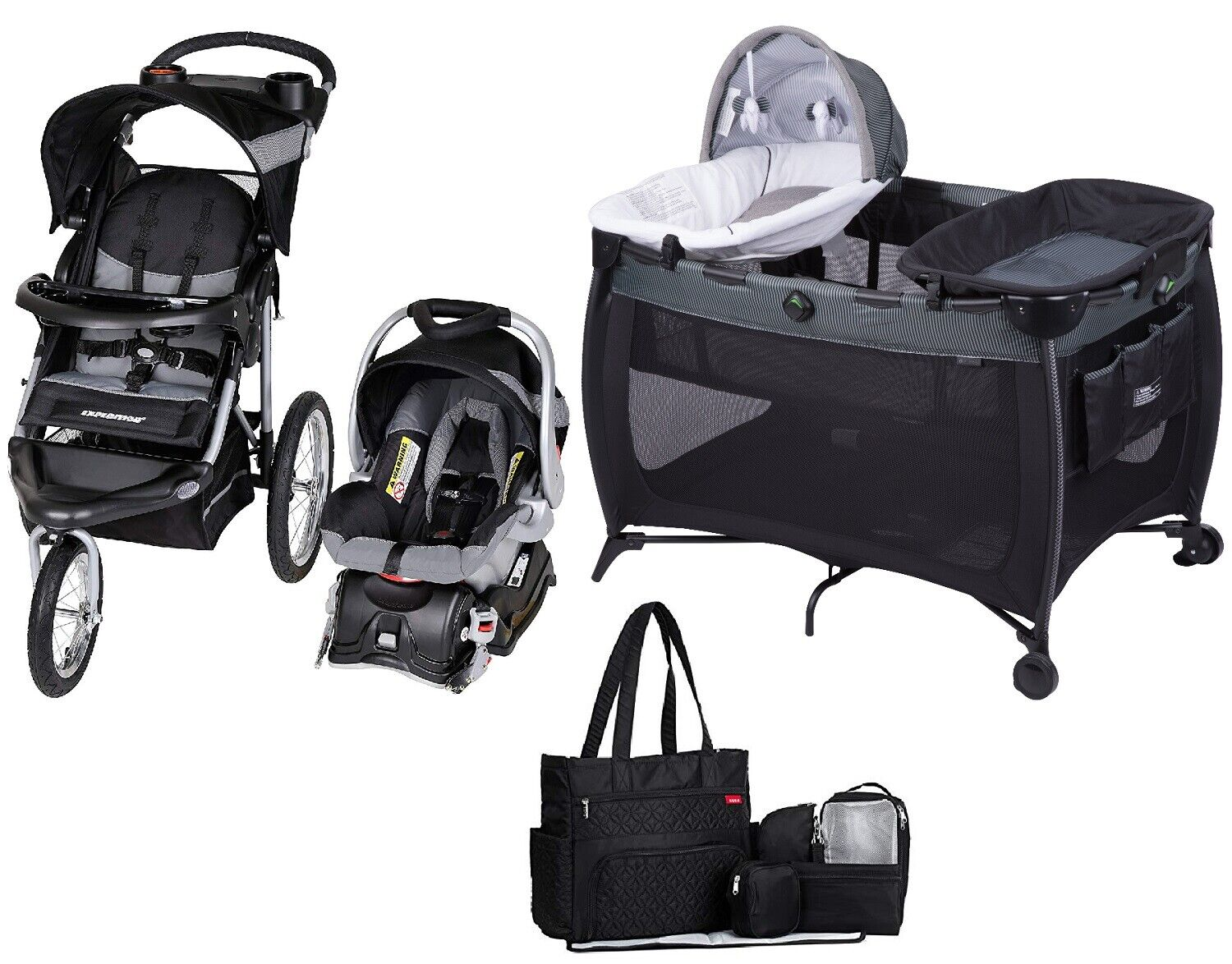 Baby Jogger Stroller with Car Seat Infant Playard Diaper Bag