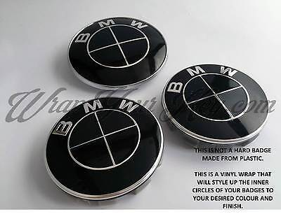 BLACK GLOSS Badge Emblem Overlay FOR BMW Sticker HOOD TRUNK RIMS FITS ALL BMW