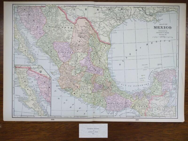 """Vintage 1900 MEXICO Map 22""""x14"""" ~ Old  Antique Original CANCUN BELIZE ACAPULCO"""
