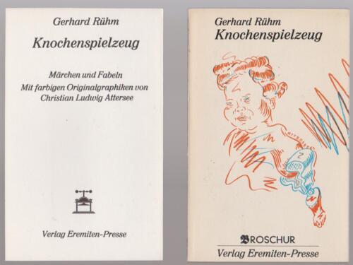 """Gerhard Rühm """"Knochenspielzeug"""" Eremiten-Presse. Nur Text.Ohne Attersee-Grafiken"""