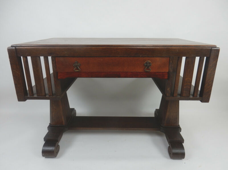 Antique Stickley era tiger oak mission desk with side Book shelves. 44 inches