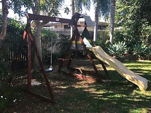 Woodern climbing frame with swings and slide Townsville City Preview