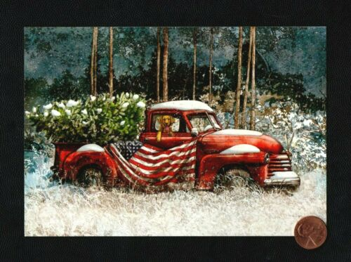 CHRISTMAS Red Truck Golden Retriever Flag Patriotic Greeting Card - W/ TRACKING