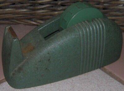 Vintage Scotch Industrial Tape Dispenser Heavy Duty Green Desk Top Cast Iron