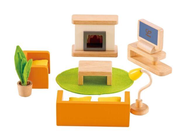 Hape Wooden Dolls House Furniture Media Living Room Furniture Set New