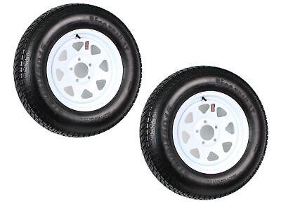 2-Pk Trailer Tire Rim ST205/75D15 15 in. Load C 5 Lug White Spoke Wheel