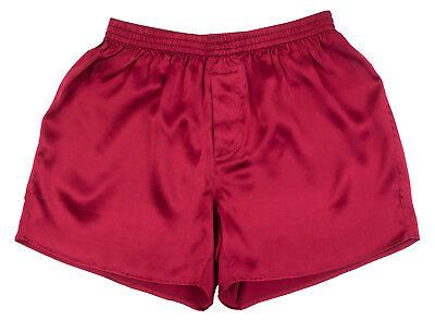Boxer Charmeuse Shorts (SEXY 100% Charmeuse SILK Mens Boxer Shorts Underwear (Wine)