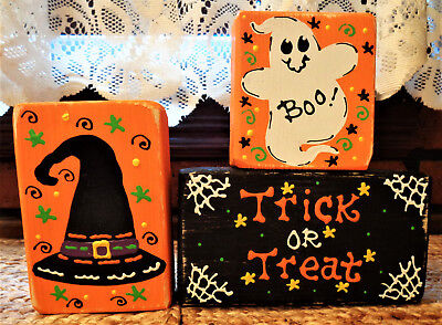 Halloween Wood Blocks (Trick Or Trick CHUNKY WOOD BLOCKS SET Halloween Fall Country Primitive)