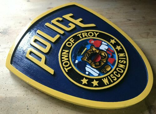 Police Troy 3D routed carved wood patch plaque Sign Custom Carved