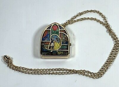 Disney Beauty & the Beast Stained Glass Pocket Watch Pendant Necklace *Working!