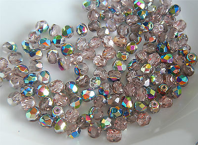 1200 PCS WHOLESALE 4mm CZECH GLASS FIRE POLISHED BEADS-LT ROSALINE VITRAIL