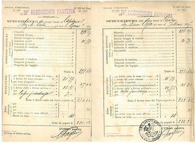 31° REGGIMENTO FANTERIA SPECCHIETTO ASSEGNI 1907 STIPENDI CAPITANO 13 BUSTE PAGA