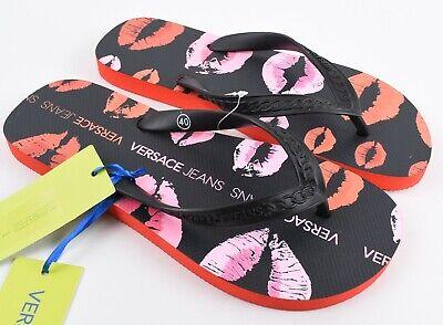 VERSACE JEANS Women's Flip Flops, Summer Sandals, Black/Red/Orange, UK 6.5