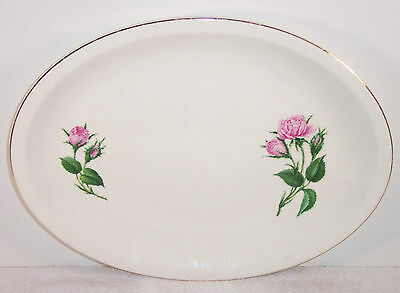 "Paden City Pink Moss Rose Pattern 14"" Oval Platter"