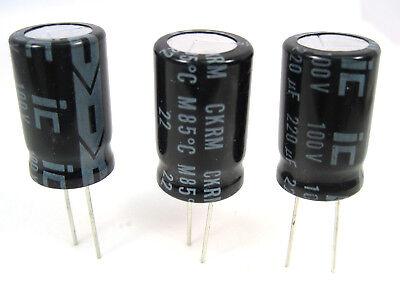 220uf 100v Radial Lead Electrolytic Capacitors 3lot Mfg. Illinois Capacitor