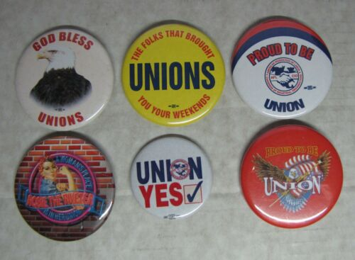 6 Union Pinback Buttons    Rosie The Riveter  Proud To Be Union   Eagle   Lot