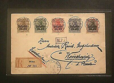 COVER/STAMPS 1916 GERMANY-LITHUANIA-RUSSIA REGISTERED WILNA/VILNIUS #01725