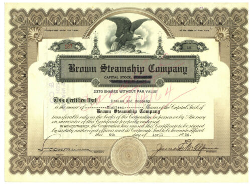 Brown Steamship Company. Stock Certificate. New York 1936