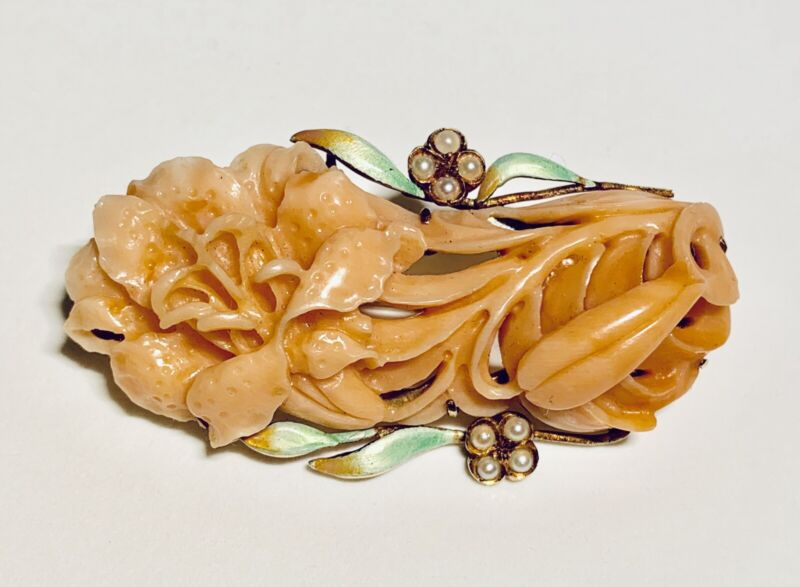 Vintage Retro 14k Yellow Gold Coral Pearl & Enamel Pin Brooch Circa 1960