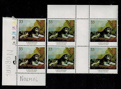 1990 DOGS DRAMATIC CHANGE IN COLOURS ALL 4 SHADES ERROR MISTAKE BLOCK 4 STAMPS